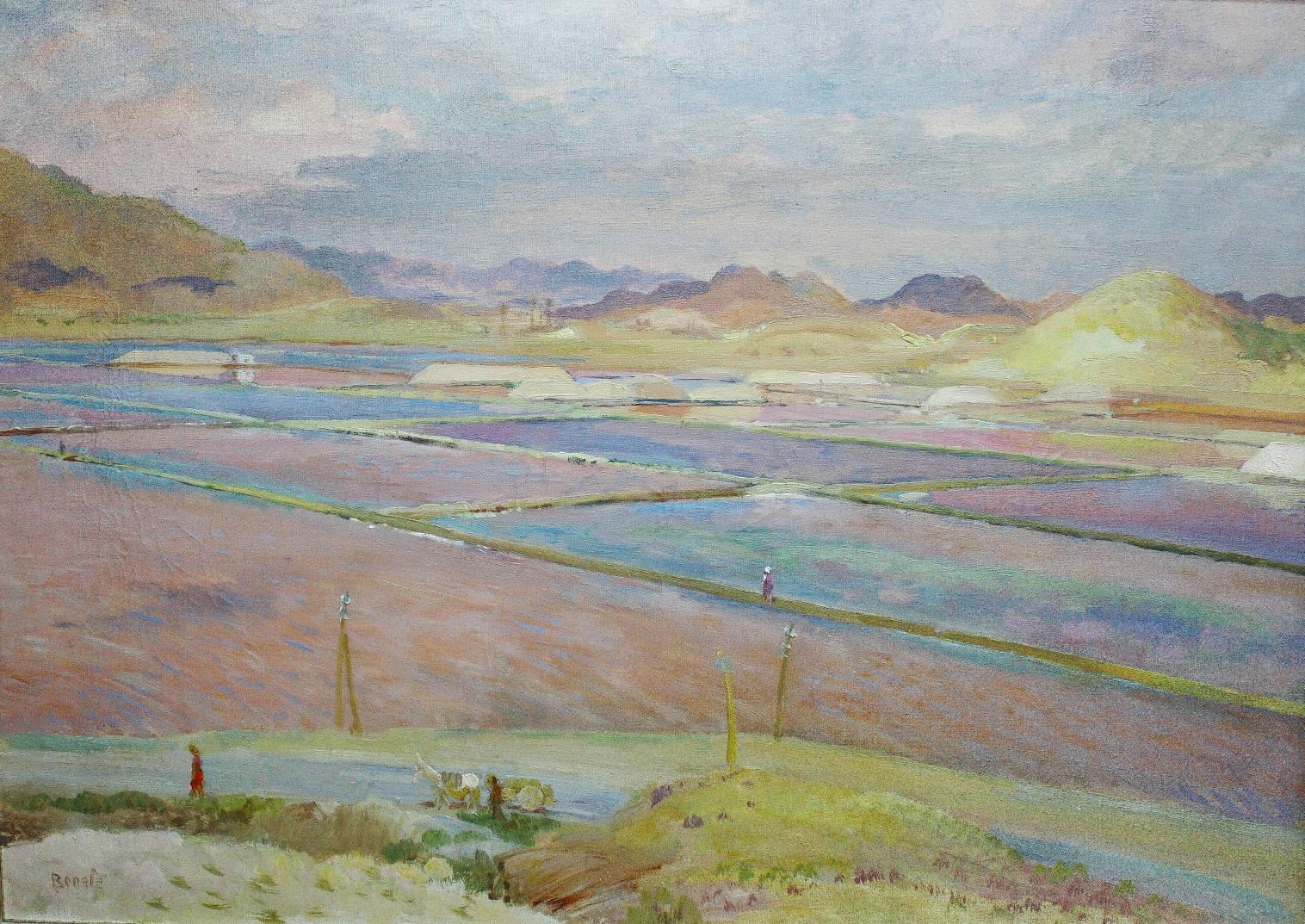 """UAN BONAFÉ (Lima, 1901 – Las Palmas de Gran Canaria, 1969) """"Salinas de Mazarrón"""" Óleo sobre lienzo."""