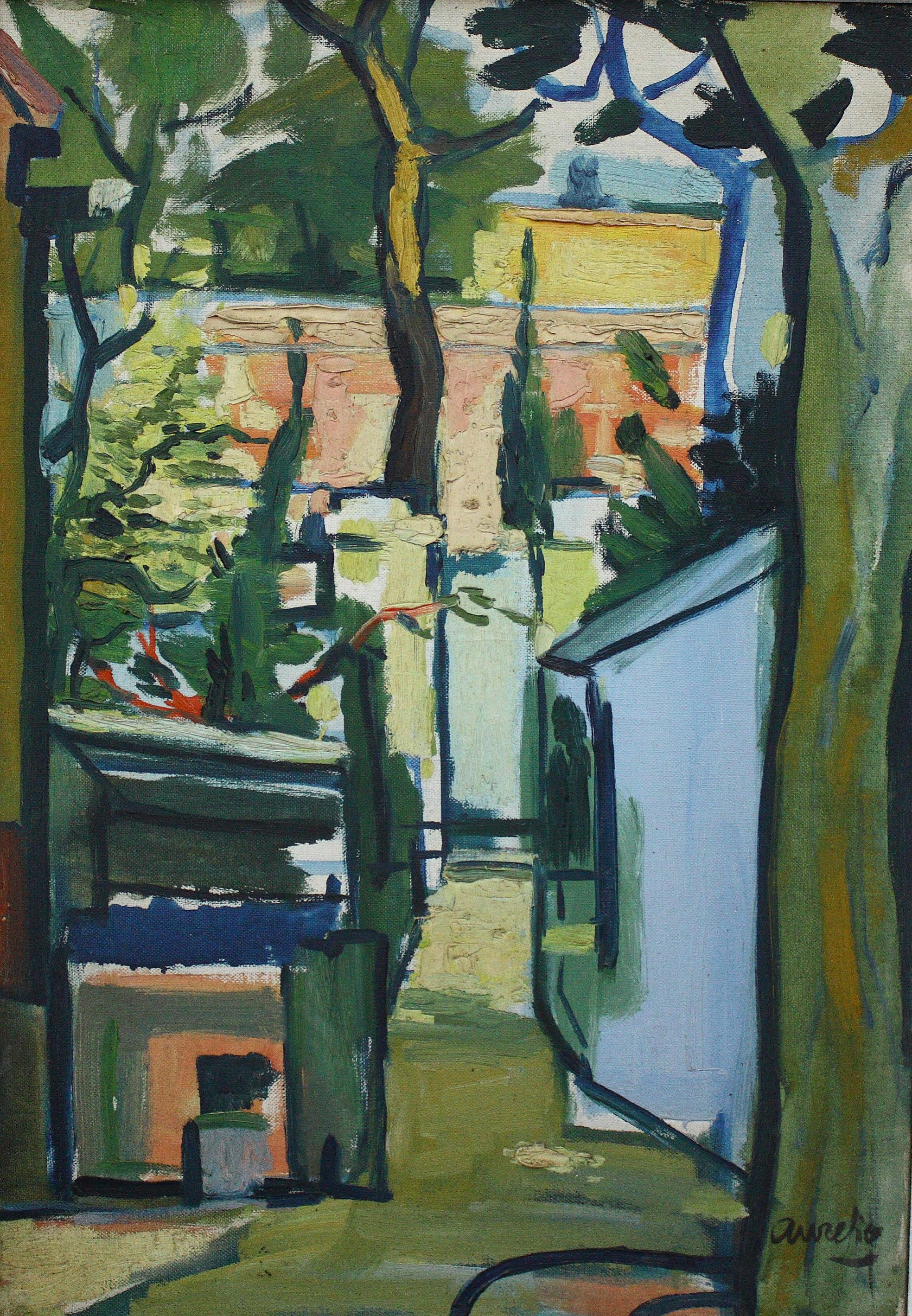 Aurelio Pérez. Alhama de Murcia 1930 – 2000. Jardín de Beaumont. Oleo sobre lienzo. Medidas de 55 x 38. Año 1957.
