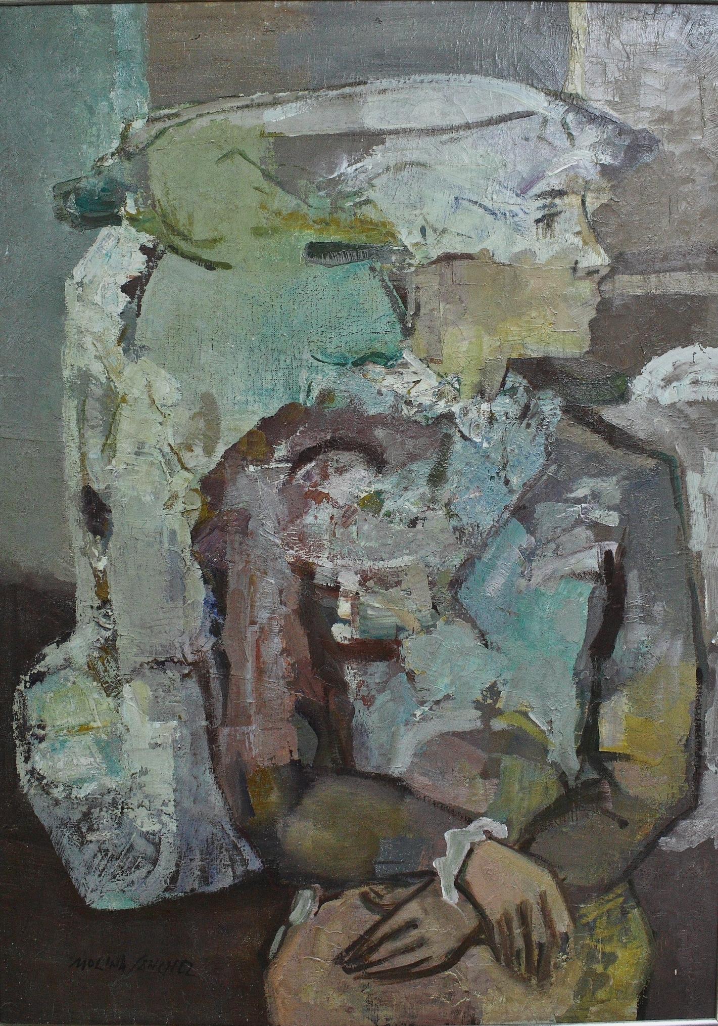 Molina Sanchez (1918 – 2009).  Oleo sobre lienzo. Medidas de 100 x 70.