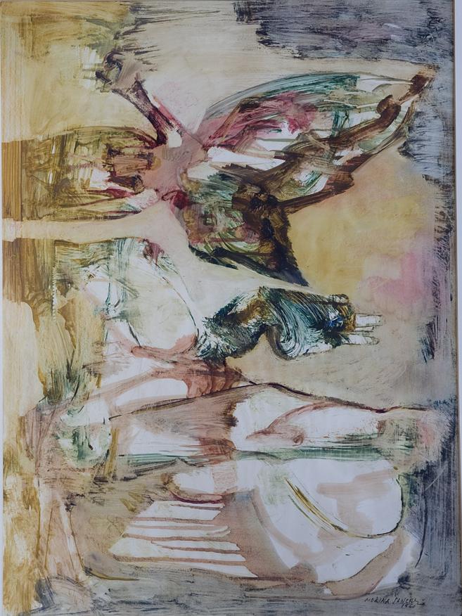 Molina Sánchez (1918 – 2009). Oleo sobre papel couche. Medidas de 65 x 51.