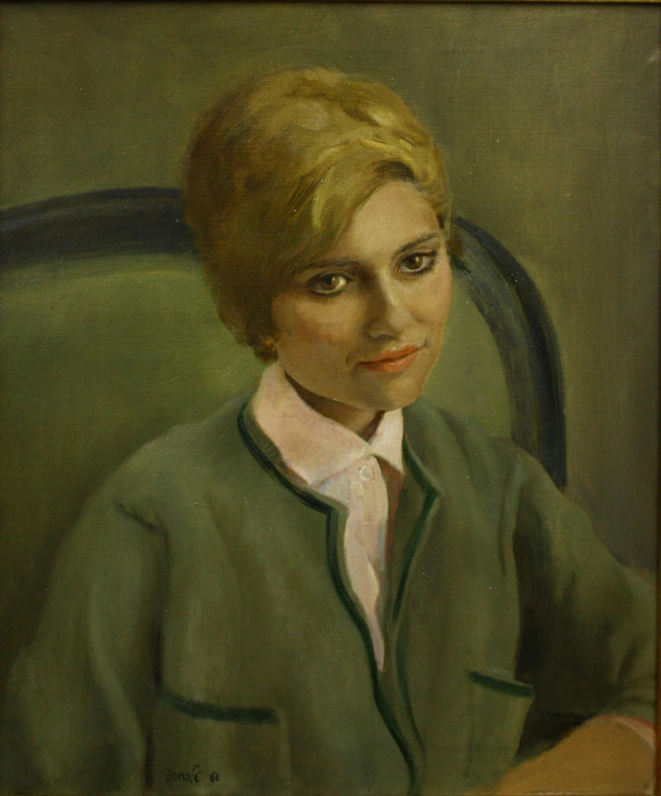 Juan Bonafe. Lima 1901- Gran Canaria 1969. Retrato. Oleo sobre lienzo. 55 x 45